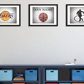 Personalized Los Angeles Lakers 3 wall art prints, Los Angeles Lakers, sports decor, sports decor, boys room decor, basketball prints
