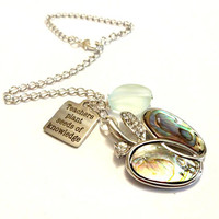 Teacher Gift, Car Necklaces, Abalone Shell Necklace, Teachers Plant the Seeds of Knowledge Mirror Charm, Rear View Mirror Charm, Quote Charm