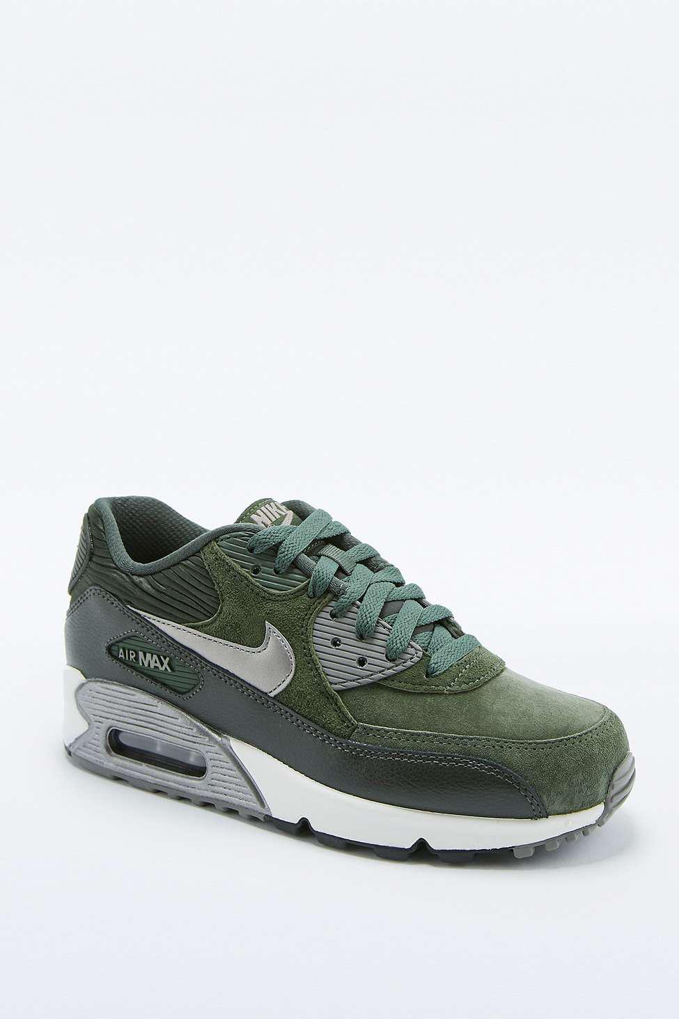 Nike Air Max 90 Green Leather Trainers - from Urban Outfitters 02621e2aa80d