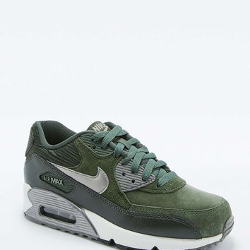 Nike Air Max 90 Green Leather Trainers - Urban Outfitters