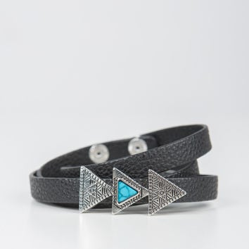 Triple Triangle Leather Wrap - Black