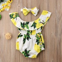 Newborn Infant Baby Girls Rompers Summmer Sleeveless Lemon Romper Jumpsuit Headband Clothes Outfits