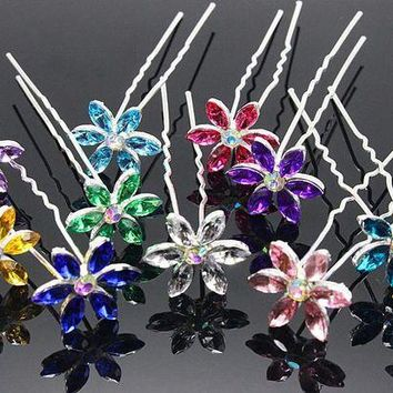 DCCKU62 10pcs/lot  Hair Accessories Simple Fashion Hair Pins Six leaves colored rhinestone party Hairpins Women Hair Jewelry H-48