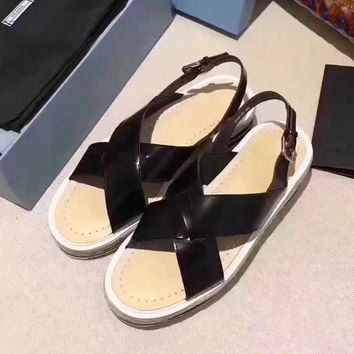 Prada Women Casual Flats Shoes Sandals Shoes-4