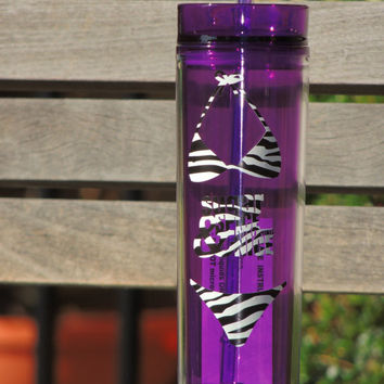 Bachelorette party favor, skinny water tumbler, acrylic water cup, purple water cup, wedding favor, summer cup, tall acrylic cup