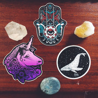 Sticker Pack - Hamsa Hand, Ganesh, Sacred Geometry Whale, Lion