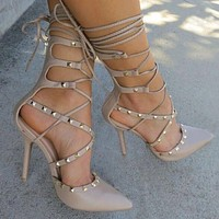 Ladies  Hollow Cross Lace Up Rivets Stiletto High Heels