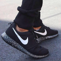 New Custom Painted Speckled All Sizes Nike Roshe Runs Black