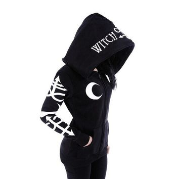 Women Witchcraft Hooded Long Sleeve Gothic Witch Moon Women Oversized Hoodie Sweatshirt Zip Plus Size