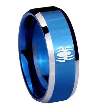 10mm Spiderman Beveled Edges Blue 2 Tone Tungsten Carbide Mens Ring Engraved