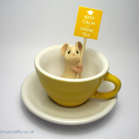 Yellow Teacup Mouse  'Keep Calm and Drink Tea' by QuernusCrafts