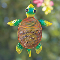 Colorful Sea Life Metal Turtle Bird Feeder Hanging Seed Feeder