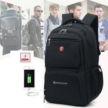 Swiss Military Army Multifunction Laptop Bag Laptop Backpack External USB Charge schoolbag