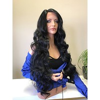 """Black 30"""" Curls Hair SWISS Lace Front Wig"""