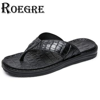 ROEGRE New Summer 2017 Men Flip Flops Faux Alligator Leather Black Mens Beach Sandals Outdoor Slippers Blue Grey Plus Size 45