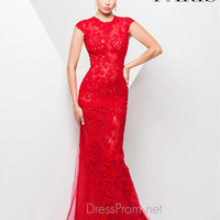 High Neck With Cap Sleeves Lace Tony Bowls Paris Prom Dress 115755