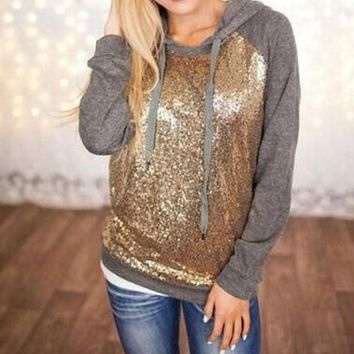 ESBON Fashion Sequin stitching hooded sweater