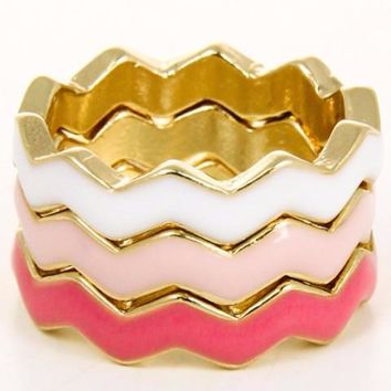 *[R]-Colorful Tri-Stacked Chevron Designed Rings