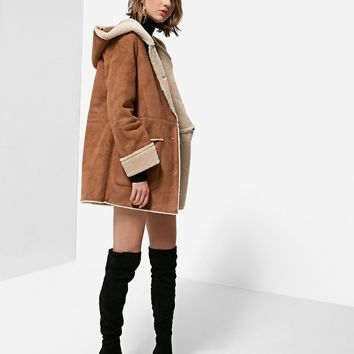 Double-sided coat with hood - Coats | Stradivarius Nederland