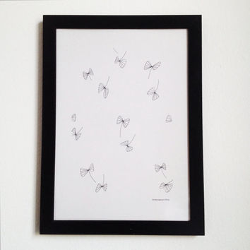 Nature Original Illustration in Black and White, Minimalist Maple seeds Drawing