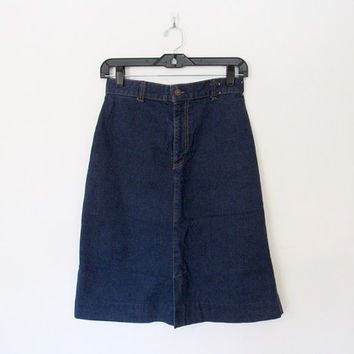 Vintage 1970s Levi's / A-Line Jean Skirt / Dark Blue Denim / Farmers, Mechanics and Miners