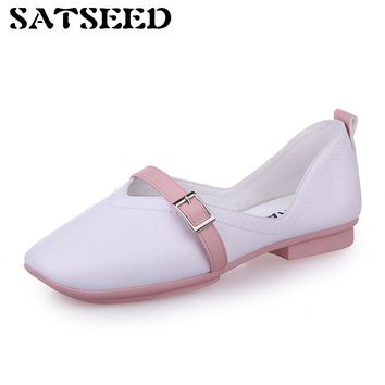 Shallow Spring Autumn Slip Pink Sky Blue Shoes Nurses Work Shoes Pregnant Women Flat Sole Square Toe Office Career Shoes