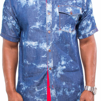 Tie Dye Chambray Button Up Shirt