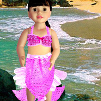 American Girl Clothes, Pink mermaid outfit, Pink glitter mermaid skirt with padded tail, Pink glitter top