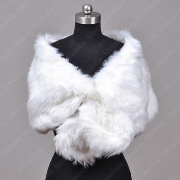 CREYHY3 Real Faux White Fur Jacket Fashionable Bolero Women Wedding Dress Accessories 2016 New Arrival Stole For Parties