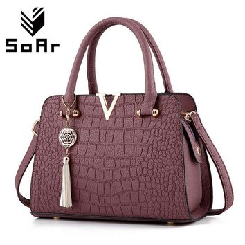 Women Patent Leather Crocodile Embossed Bag With Tassel Charm