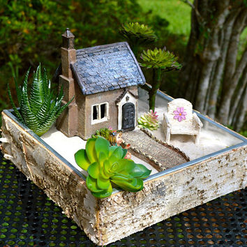 Fairy Garden Set ~ French Countryside Cottage ~ Door Opens ~ Daisy Chair ~ Walkway ~ Use in Flower Garden ~ Planter Option and Fairy Option