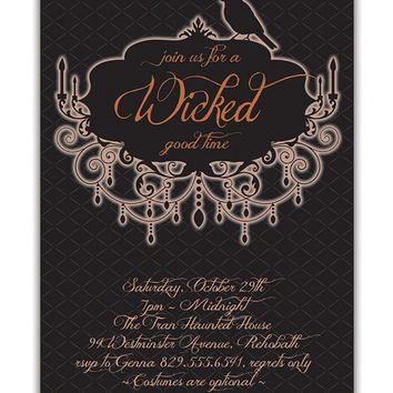 Halloween Party Invitation Adult Costume Party Invitation Gothic Raven Halloween Invitation Chandelier DIY Digital or Printed- Tran Style