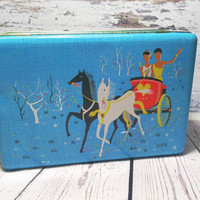 Vintage Blue Cookie Tin . Rectangular Belgian Tin Box . Biscuit Tin .