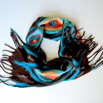 Nunofelted brown scarf Felted Scarf  Nuno felt Silk Felt Scarves women scarf  for her Handmade Ready to Ship 14''/81''