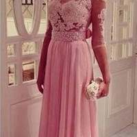 Half Sleeve Prom Dress,Pink Prom Dress,Long Evening Dresses