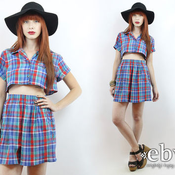 Vintage 90s Blue Plaid Crop Top + Shorts Outfit S M Matching Set Two Piece Set Two Piece Outfit Separates Cropped Top High Waisted Shorts