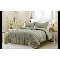 3PC Reversible Solid/ Emboss Striped Comforter Set- Oversized & Overfilled ( 2 Bedding Looks in 1) - Sage in Queen Size