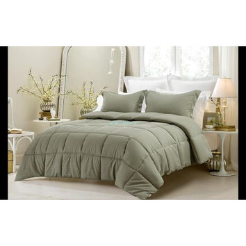3PC Reversible Solid/ Emboss Striped Comforter Set- Oversized & Overfilled ( 2 Bedding Looks in 1) - Sage in Twin/Twin XL Size
