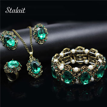 Fashion Wedding Bridal Jewelry Sets Green Crystal Antique Bronze Color Jewelry Set Necklace Earrings Bracelet Rings
