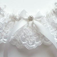 White Lace Garter with White Satin Ribbon Bow and Swarovski Crystal Finding - The JULIETTE Garter