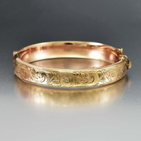 English 9ct Rose Gold Engraved Bangle Bracelet