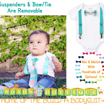 Baby Boy Clothes With Tie and Suspenders Teal/Pink Plaid Pattern
