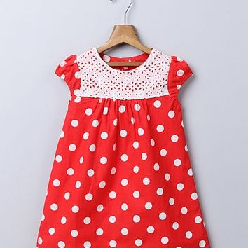 Beebay Red Polka Dot Lace Yoke A-Line Dress - Infant, Toddler & Girls