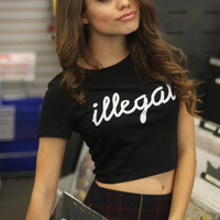 Illegal Black Graphic Crop Top