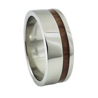 KOA wood stripe inlay titanium ring for man