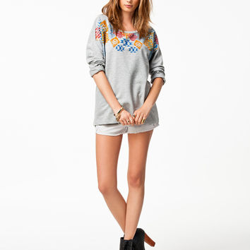 Gray Geometric Print Sleeve Shirt Tee
