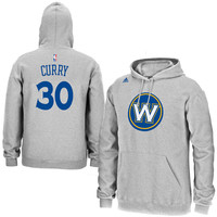 Mens Golden State Warriors Stephen Curry adidas Gray Name & Number Pullover Hoodie