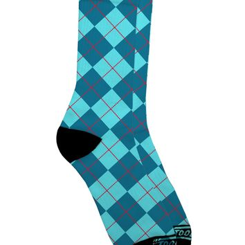 Blue Argyle AOP Adult Crew Socks All Over Print by TooLoud