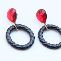 Black hoop and red crystal  Statement Earrings by TheUrbanLady