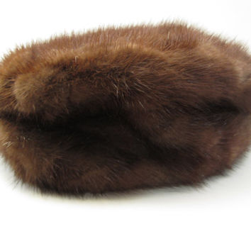 Mink fur Pillbox Hat - Possibly 1940s Winter Hat - Brown Bridal Wedding - Groundhog's Day - Vintage Dress Up Costume - Fred and Ginger